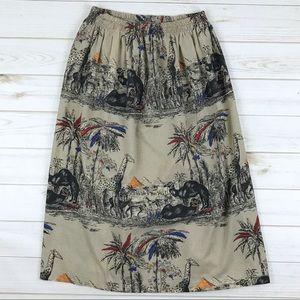 <Vintage> Novelty Print Desert Midi Skirt Cute